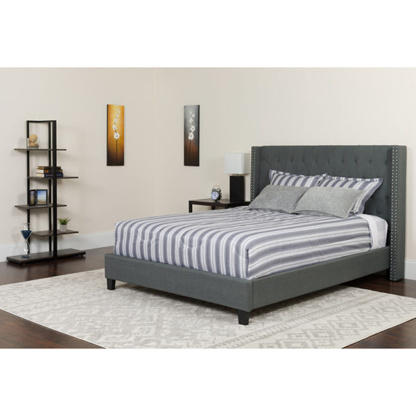 Wholesale Riverdale King Size Tufted Upholstered Platform Bed in Dark Gray Fabric with Pocket Spring Mattress
