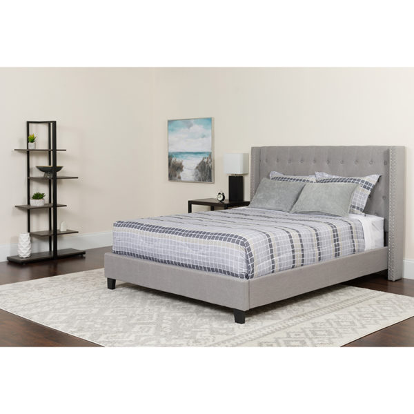 Wholesale Riverdale King Size Tufted Upholstered Platform Bed in Light Gray Fabric with Memory Foam Mattress