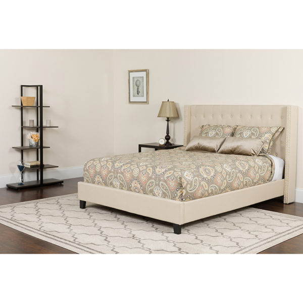 Wholesale Riverdale Queen Size Tufted Upholstered Platform Bed in Beige Fabric with Pocket Spring Mattress