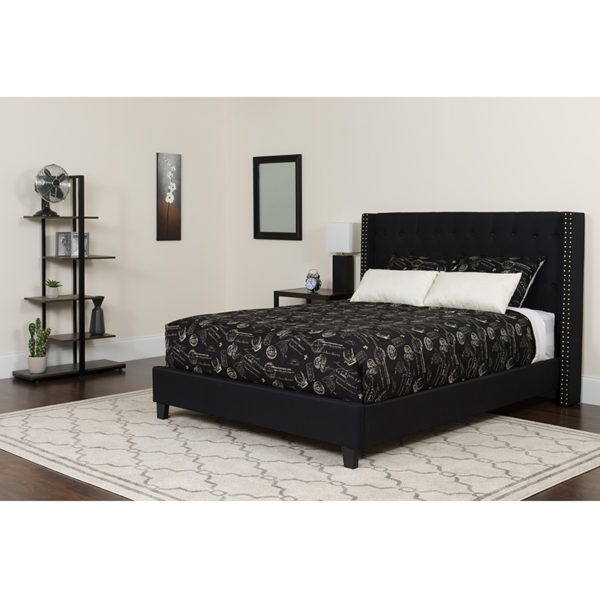 Wholesale Riverdale Queen Size Tufted Upholstered Platform Bed in Black Fabric with Pocket Spring Mattress