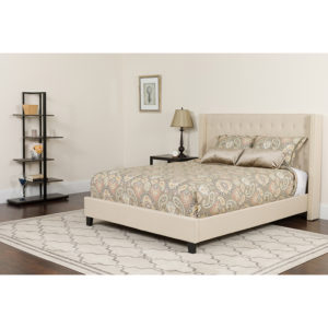 Wholesale Riverdale Twin Size Tufted Upholstered Platform Bed in Beige Fabric