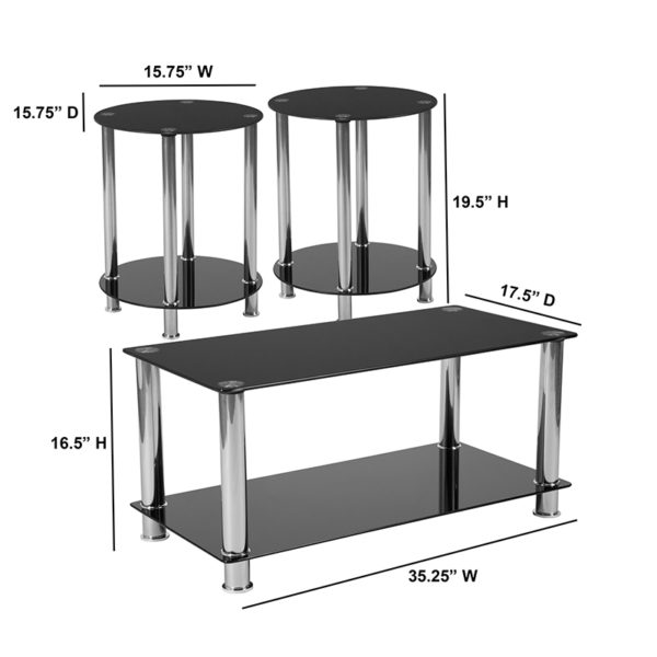Lowest Price Riverside Collection 3 Piece Coffee and End Table Set with Black Glass Tops and Stainless Steel Frames