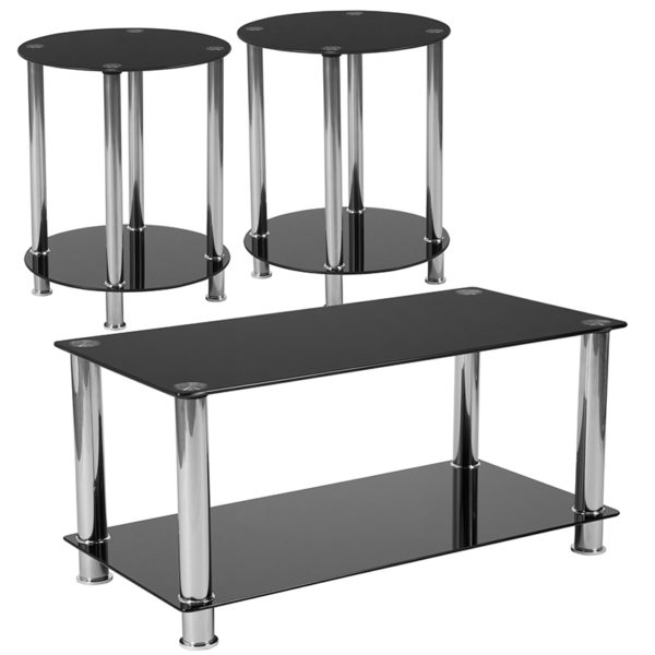 Wholesale Riverside Collection 3 Piece Coffee and End Table Set with Black Glass Tops and Stainless Steel Frames