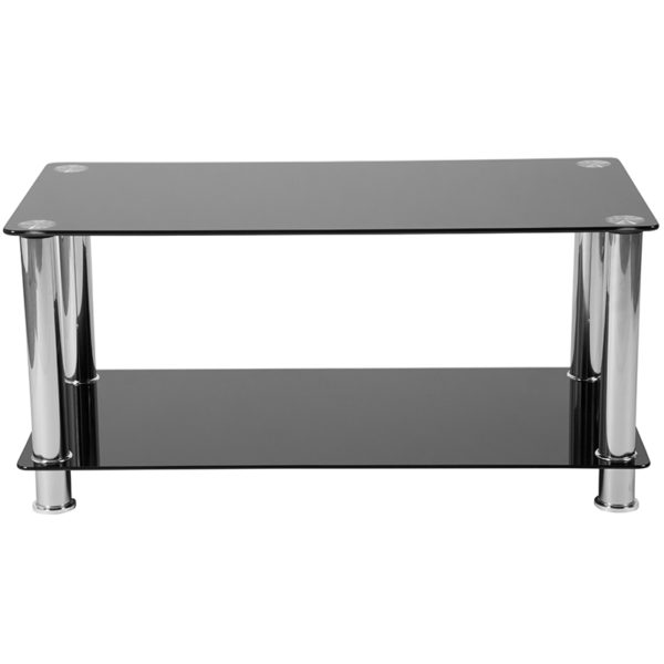 Lowest Price Riverside Collection Black Glass Coffee Table with Shelves and Stainless Steel Frame