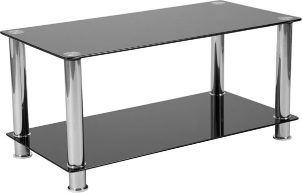 Wholesale Riverside Collection Black Glass Coffee Table with Shelves and Stainless Steel Frame