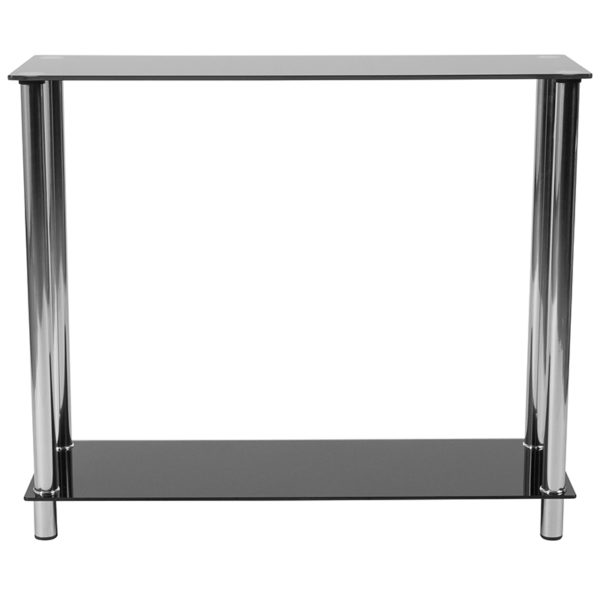 Lowest Price Riverside Collection Black Glass Console Table with Shelves and Stainless Steel Frame