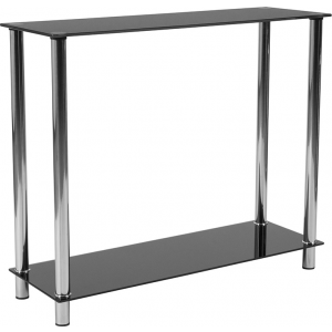 Wholesale Riverside Collection Black Glass Console Table with Shelves and Stainless Steel Frame