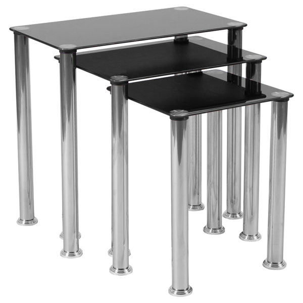 Lowest Price Riverside Collection Black Glass Nesting Tables with Stainless Steel Legs