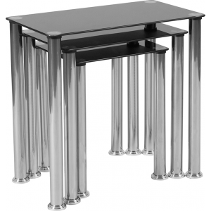 Wholesale Riverside Collection Black Glass Nesting Tables with Stainless Steel Legs