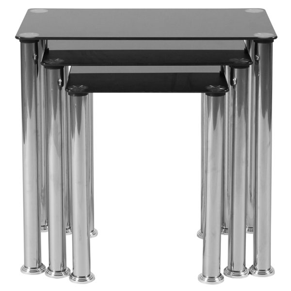 Contemporary Style Black Glass Nesting Table