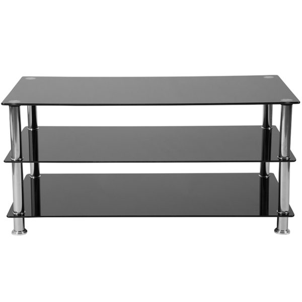 Lowest Price Riverside Collection Black Glass TV Stand with Stainless Steel Frame
