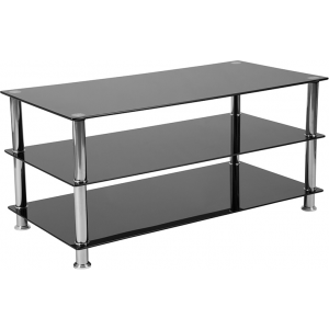 Wholesale Riverside Collection Black Glass TV Stand with Stainless Steel Frame