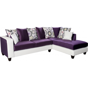 Wholesale Riverstone Implosion Purple Velvet Sectional with Right Side Facing Chaise
