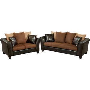 Wholesale Riverstone Sierra Chocolate Microfiber Living Room Set