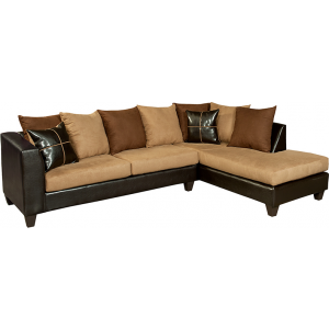 Wholesale Riverstone Sierra Chocolate Microfiber Sectional with Right Side Facing Chaise