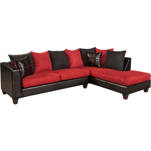 Wholesale Riverstone Victory Lane Cardinal Microfiber Sectional with Right Side Facing Chaise