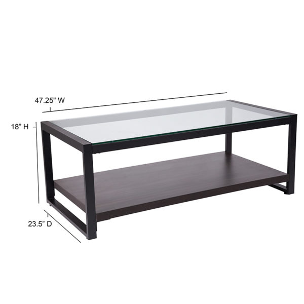 Lowest Price Rosedale Glass Coffee Table with Black Metal Frame