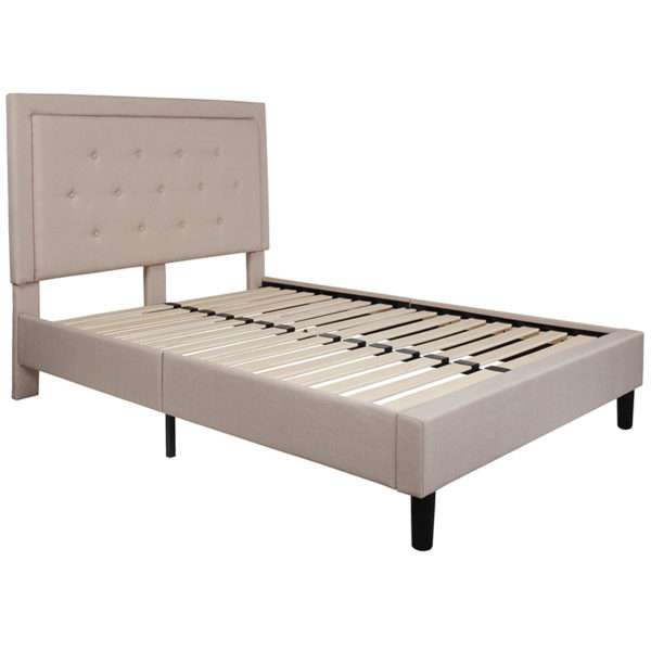 Lowest Price Roxbury Full Size Tufted Upholstered Platform Bed in Beige Fabric