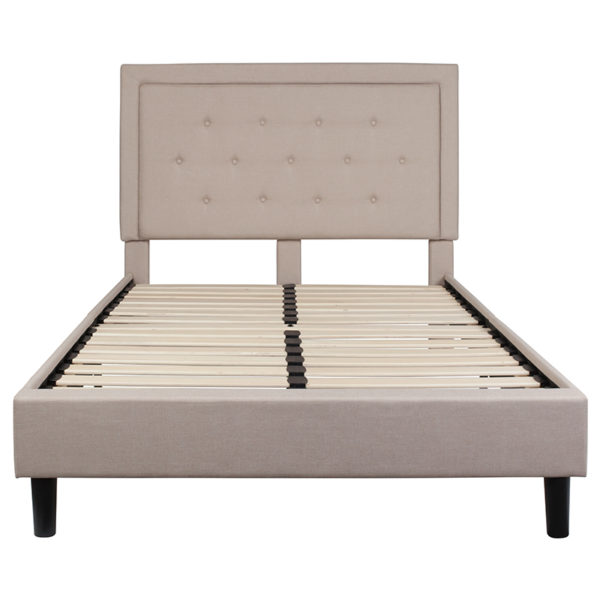 Platform Bed Full Platform Bed-Beige