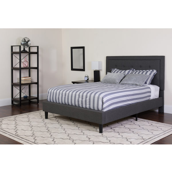 Wholesale Roxbury Full Size Tufted Upholstered Platform Bed in Dark Gray Fabric with Memory Foam Mattress