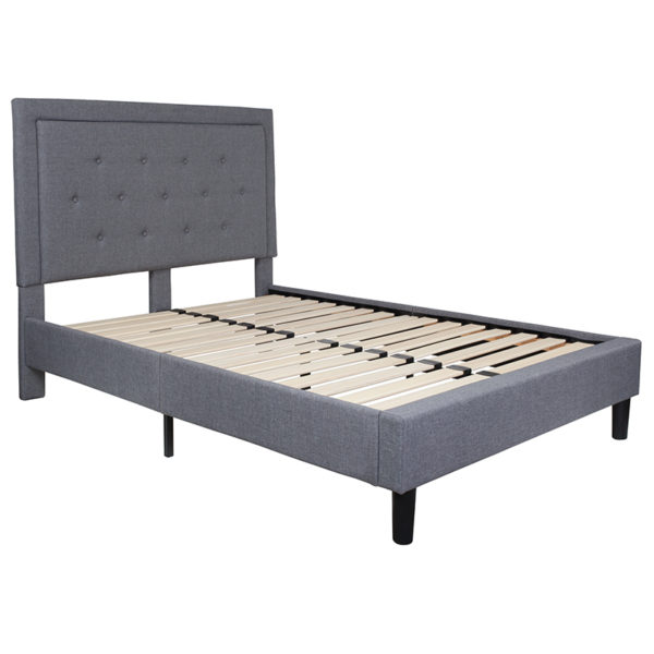 Lowest Price Roxbury Full Size Tufted Upholstered Platform Bed in Light Gray Fabric