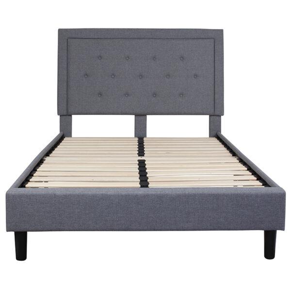 Platform Bed Full Platform Bed-Light Gray