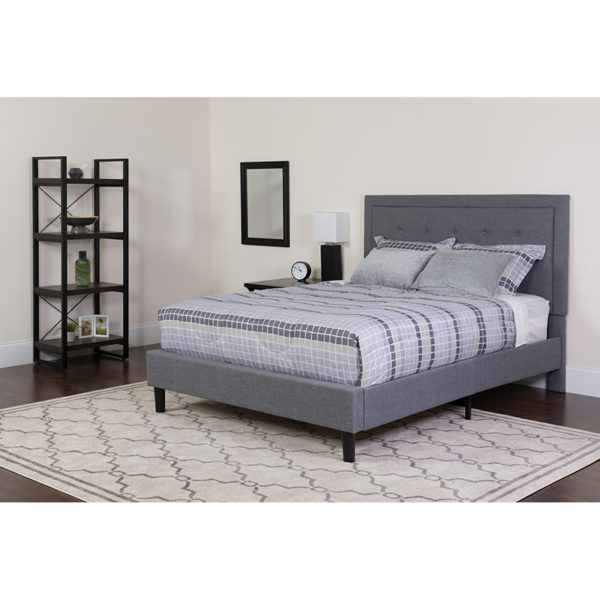Wholesale Roxbury Full Size Tufted Upholstered Platform Bed in Light Gray Fabric with Memory Foam Mattress