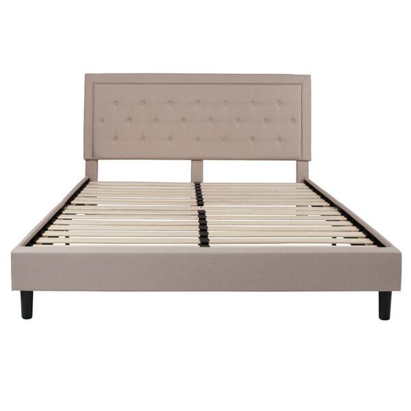 Platform Bed King Platform Bed-Beige