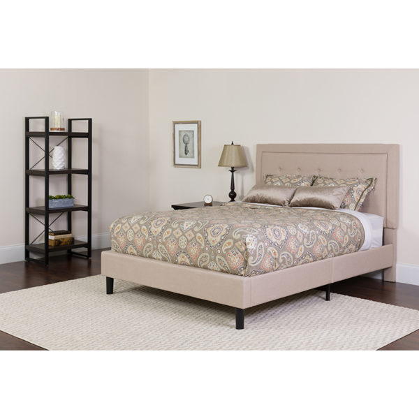 Wholesale Roxbury King Size Tufted Upholstered Platform Bed in Beige Fabric with Memory Foam Mattress