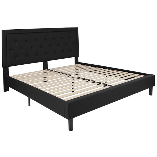 Lowest Price Roxbury King Size Tufted Upholstered Platform Bed in Black Fabric