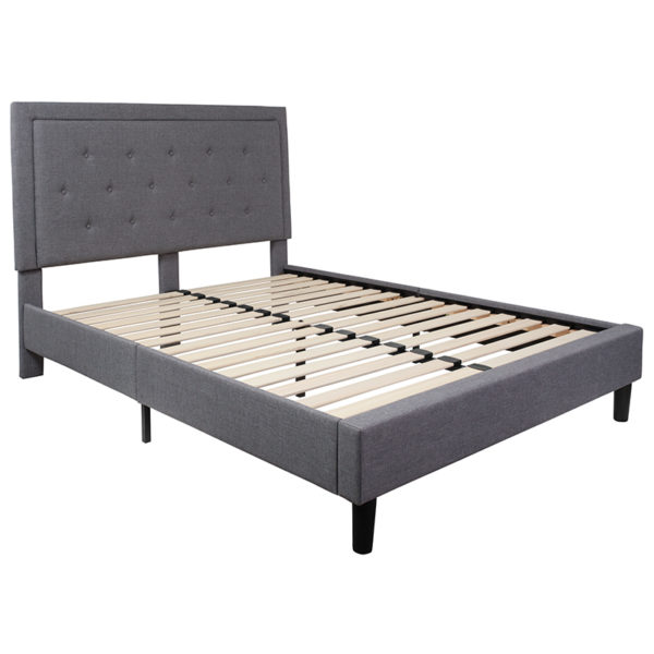 Lowest Price Roxbury Queen Size Tufted Upholstered Platform Bed in Light Gray Fabric