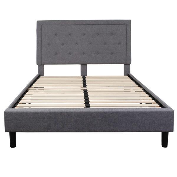 Platform Bed Queen Platform Bed-Light Gray