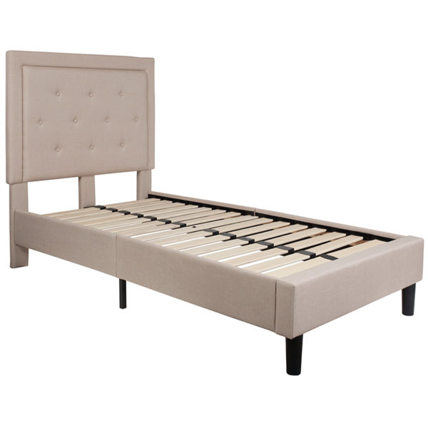 Lowest Price Roxbury Twin Size Tufted Upholstered Platform Bed in Beige Fabric
