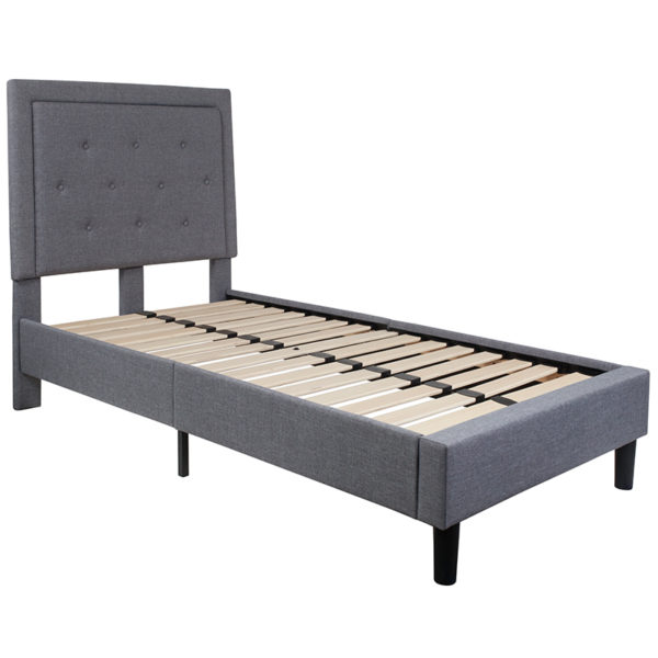 Lowest Price Roxbury Twin Size Tufted Upholstered Platform Bed in Light Gray Fabric