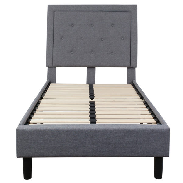 Platform Bed Twin Platform Bed-Light Gray
