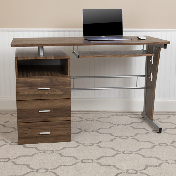 Lowest Price Rustic Walnut Desk with Three Drawer Pedestal and Pull-Out Keyboard Tray