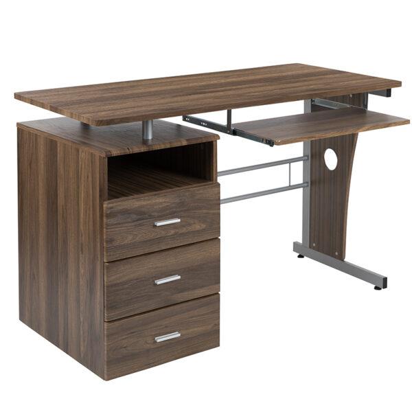 Contemporary Style Walnut 3 Drawer Pedestal Desk