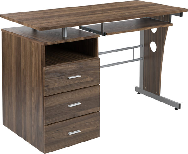 Wholesale Rustic Walnut Desk with Three Drawer Pedestal and Pull-Out Keyboard Tray