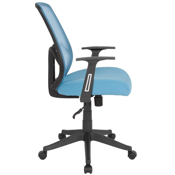 Lowest Price Salerno Series High Back Light Blue Mesh Office Chair with Arms