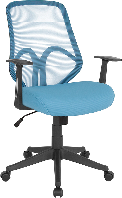 Wholesale Salerno Series High Back Light Blue Mesh Office Chair with Arms