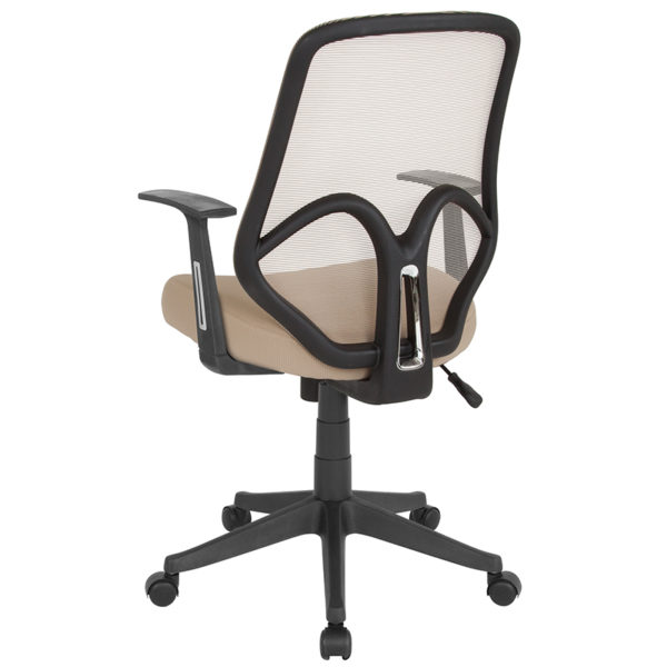 Contemporary Office Chair Lt Brown High Back Mesh Chair