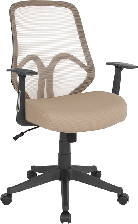 Wholesale Salerno Series High Back Light Brown Mesh Office Chair with Arms