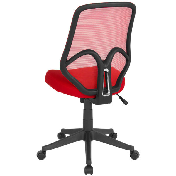 Contemporary Office Chair Red High Back Mesh Chair