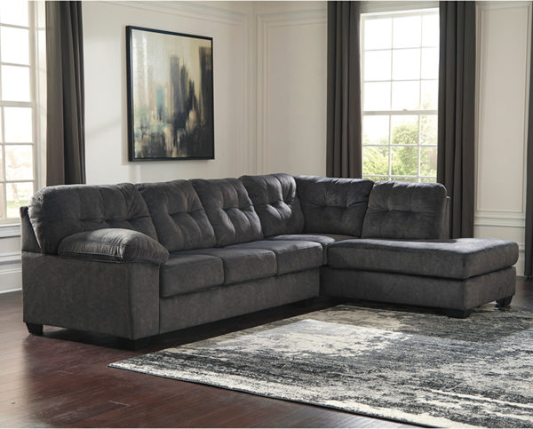 Lowest Price Signature Design by Ashley Accrington 2-Piece Left Side Facing Sofa Sectional in Granite Microfiber