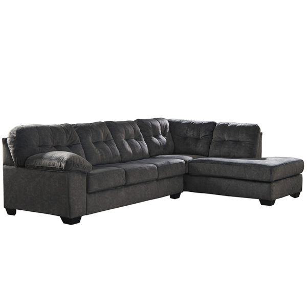 Wholesale Signature Design by Ashley Accrington 2-Piece Left Side Facing Sofa Sectional in Granite Microfiber