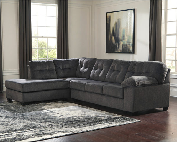 Lowest Price Signature Design by Ashley Accrington 2-Piece Right Side Facing Sofa Sectional in Granite Microfiber