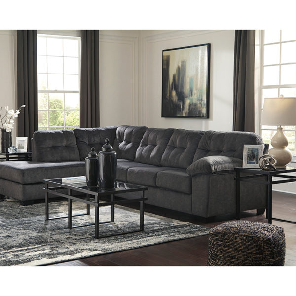 Contemporary Style Granite Microfiber L-Sectional
