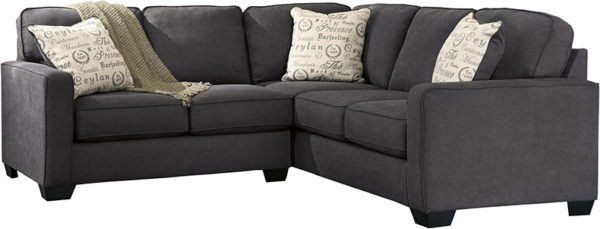 Lowest Price Signature Design by Ashley Alenya 2-Piece Sofa Sectional in Charcoal Microfiber
