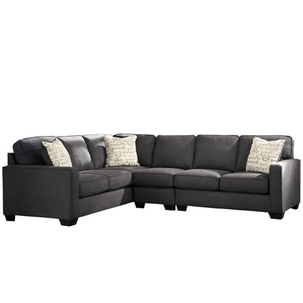 Lowest Price Signature Design by Ashley Alenya 3-Piece Left Side Facing Sofa Sectional in Charcoal Microfiber