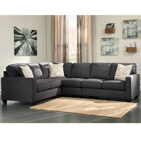 Wholesale Signature Design by Ashley Alenya 3-Piece Left Side Facing Sofa Sectional in Charcoal Microfiber